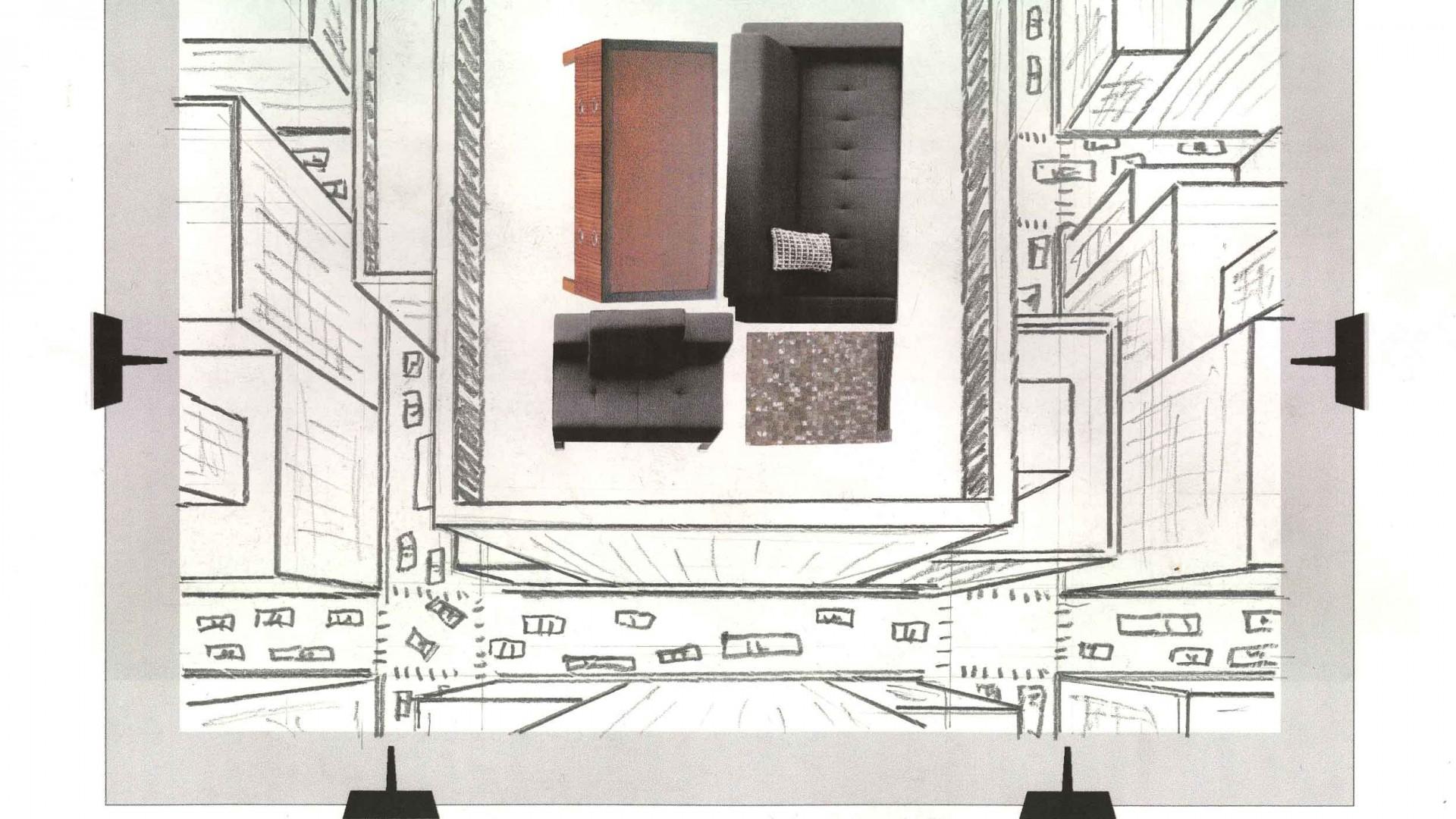 Bernhardt Hospitality Transcending to New Heights Exhibit, original concept sketch.
