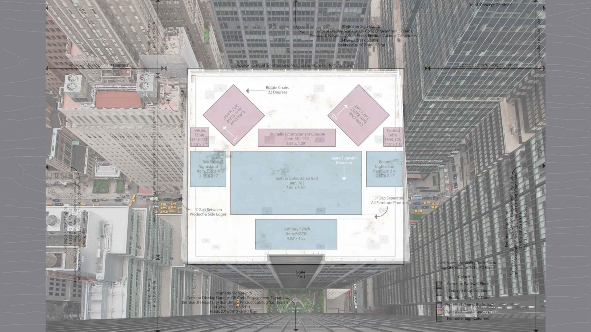 Bernhardt Hospitality Transcending to New Heights Exhibit, composite image.