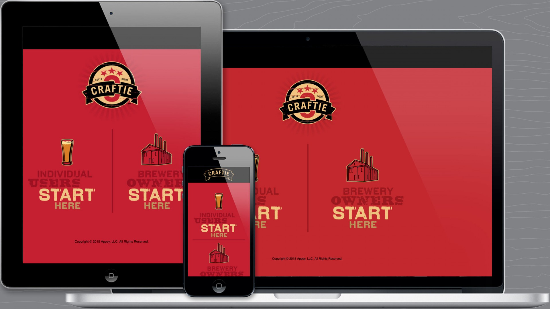 Load page of Craftie™ responsive marketing website.