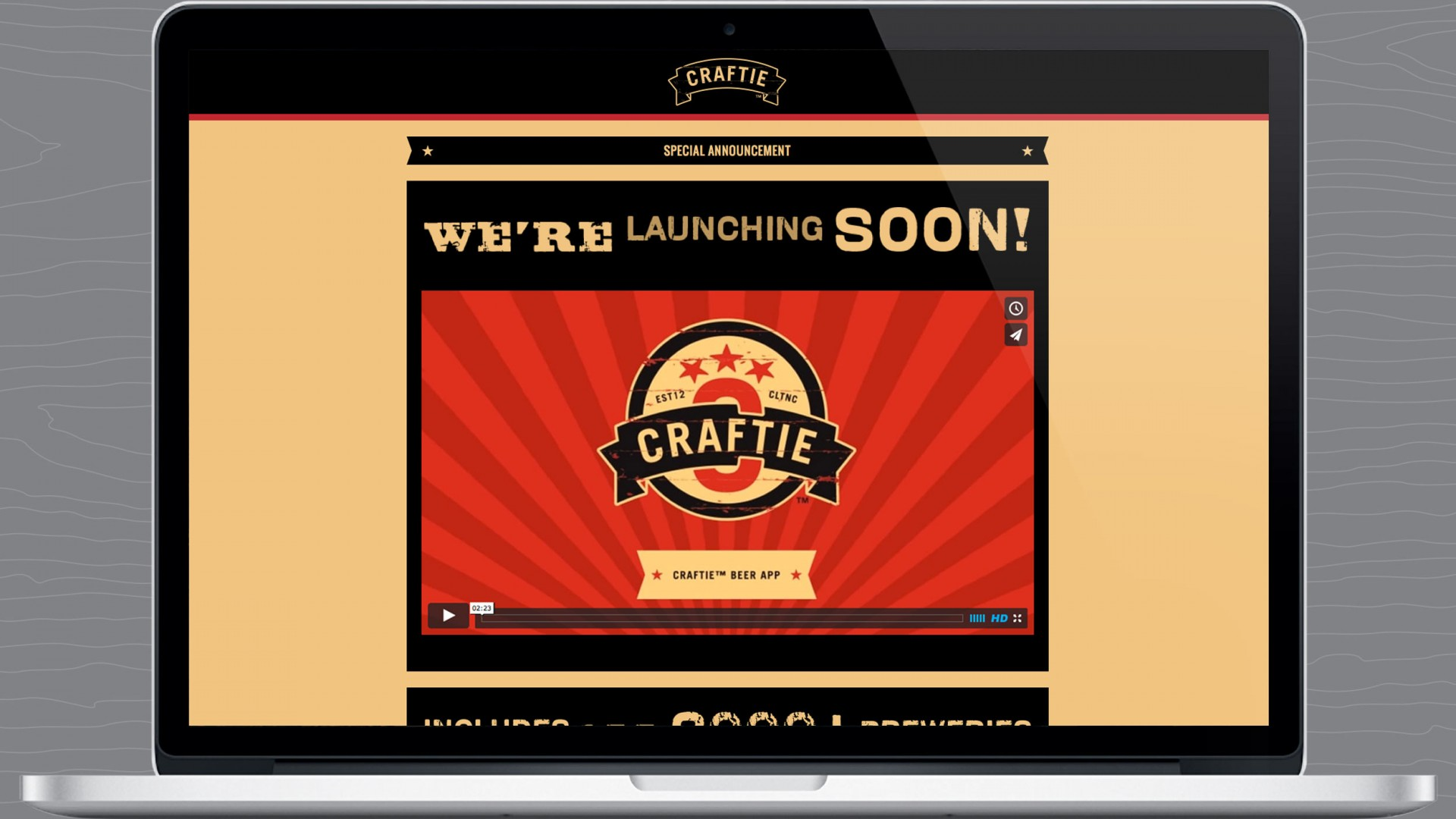 Splash page of Craftie™ responsive marketing website.