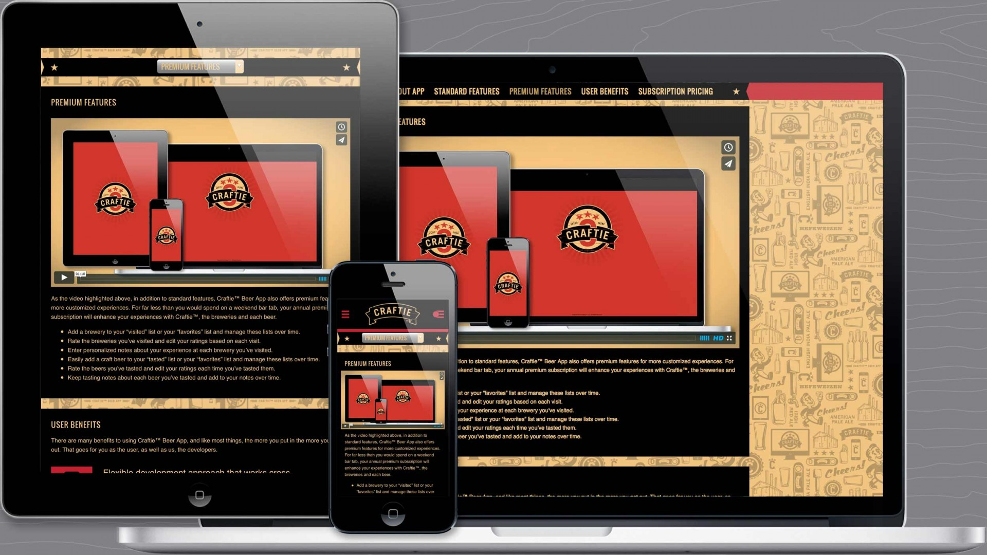 Premium Features page of Craftie™ responsive marketing website.