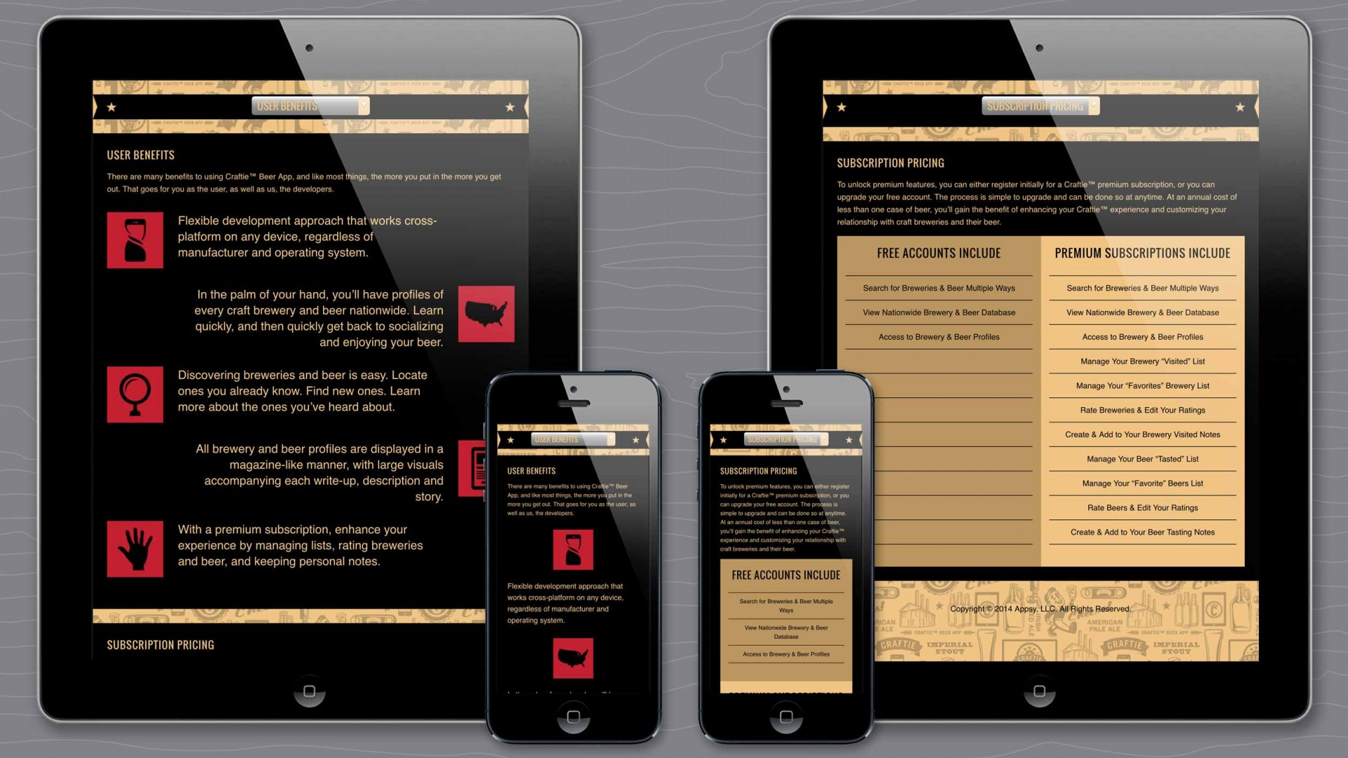 Benefits and Pricing pages of Craftie™ responsive marketing website.