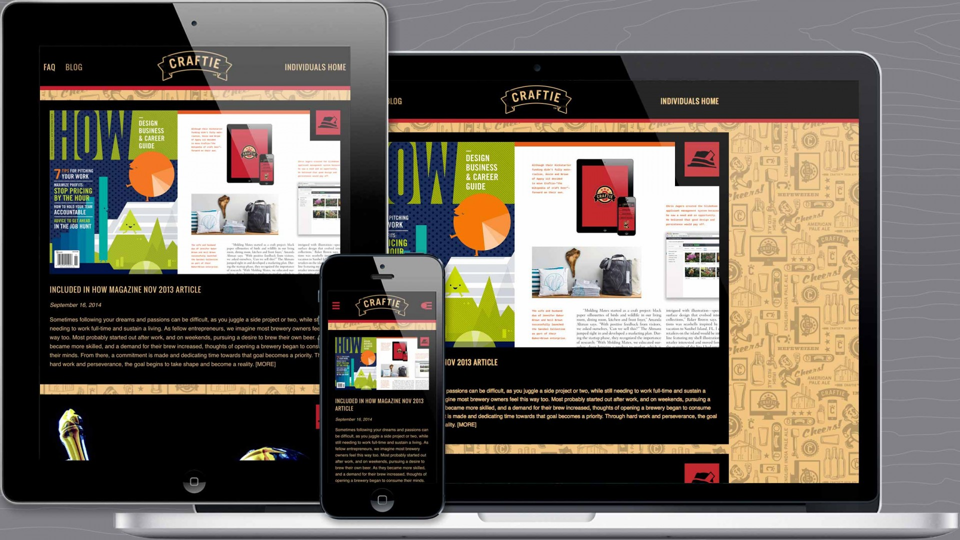 Blog page of Craftie™ responsive marketing website.