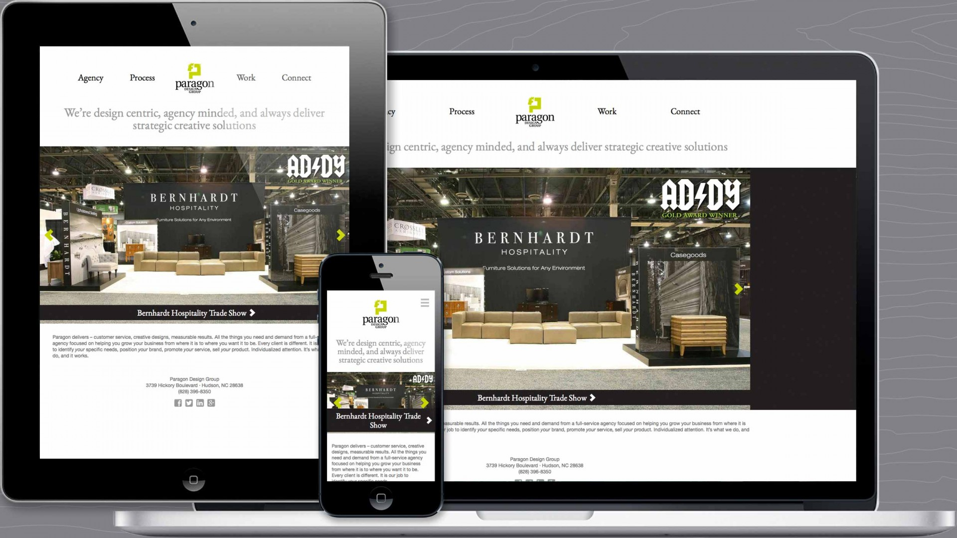Home page of Paragon agency responsive website.