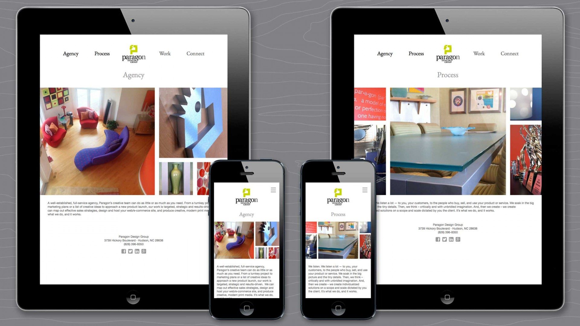 Agency and Process pages of Paragon agency responsive website.