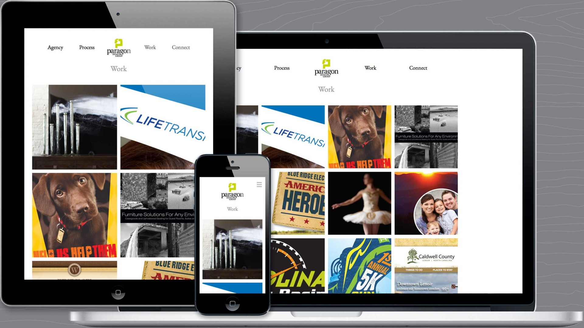 Work page of Paragon agency responsive website.