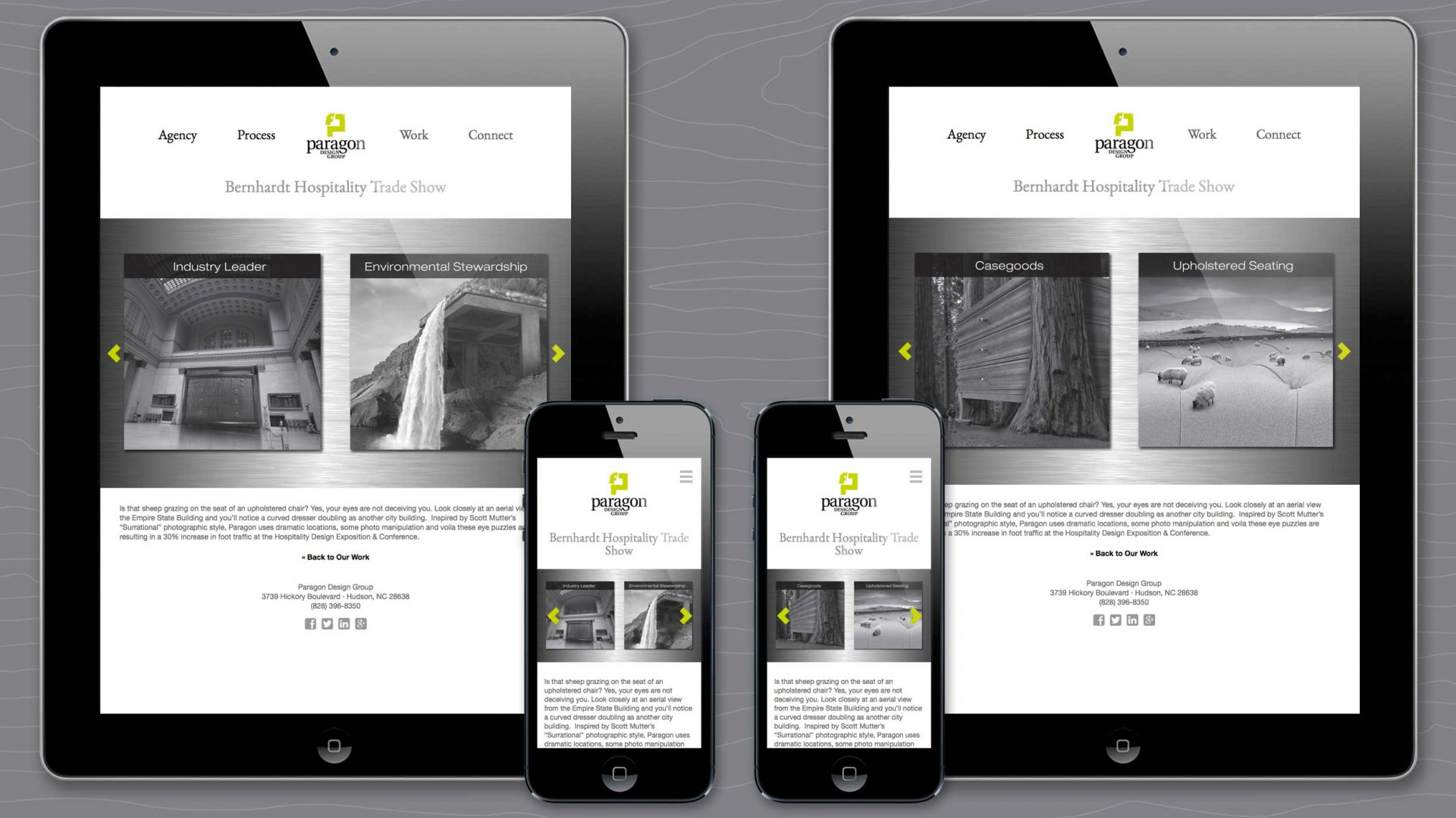Work sample detail page of Paragon agency responsive website.