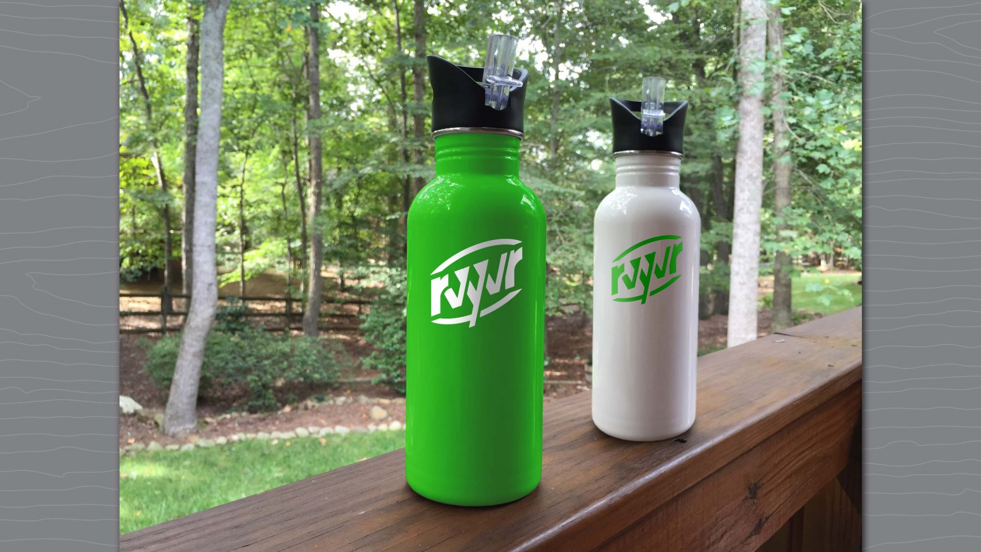 Branded water bottles for RVYVR.