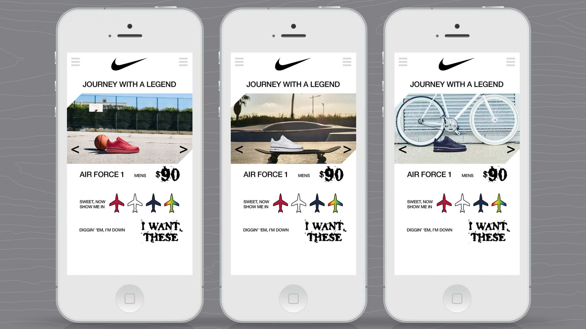 Journey With A Legend, Nike UX/UI, mobile phone views.