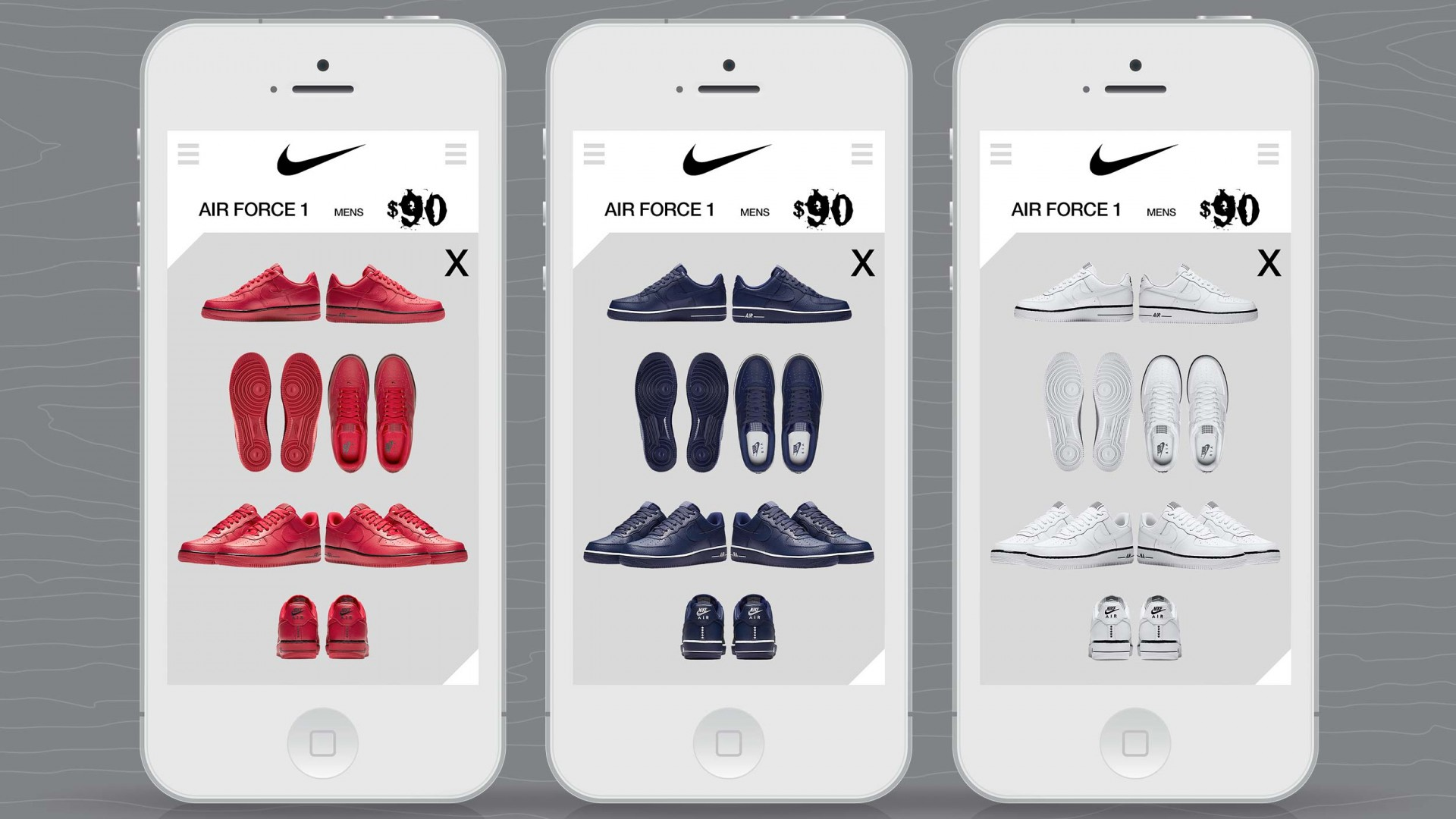 Journey With A Legend, Nike UX/UI, mobile phone shoe color views.