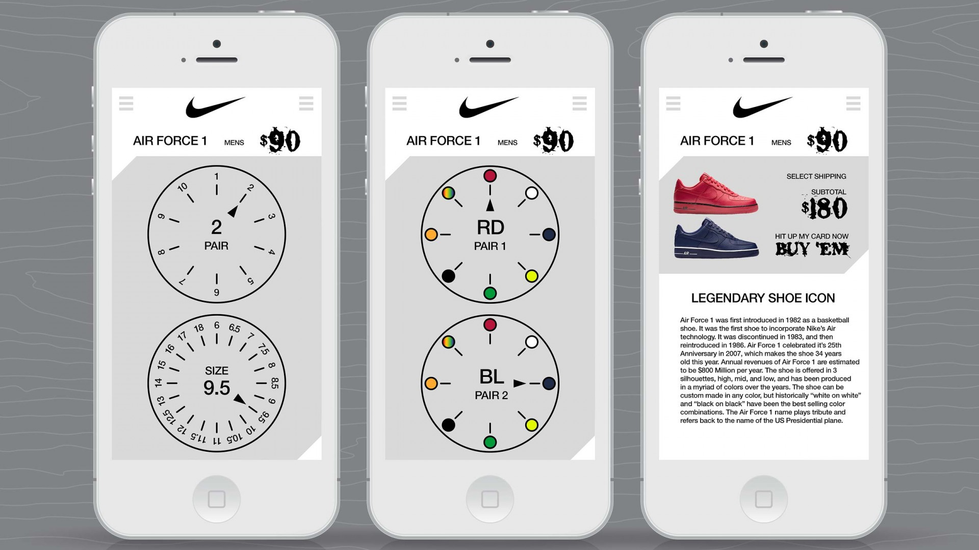 Journey With A Legend, Nike UX/UI, mobile phone shopping selections views.