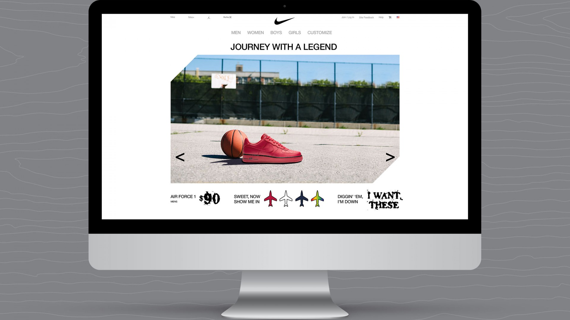 Journey With A Legend, Nike UX/UI, desktop view.