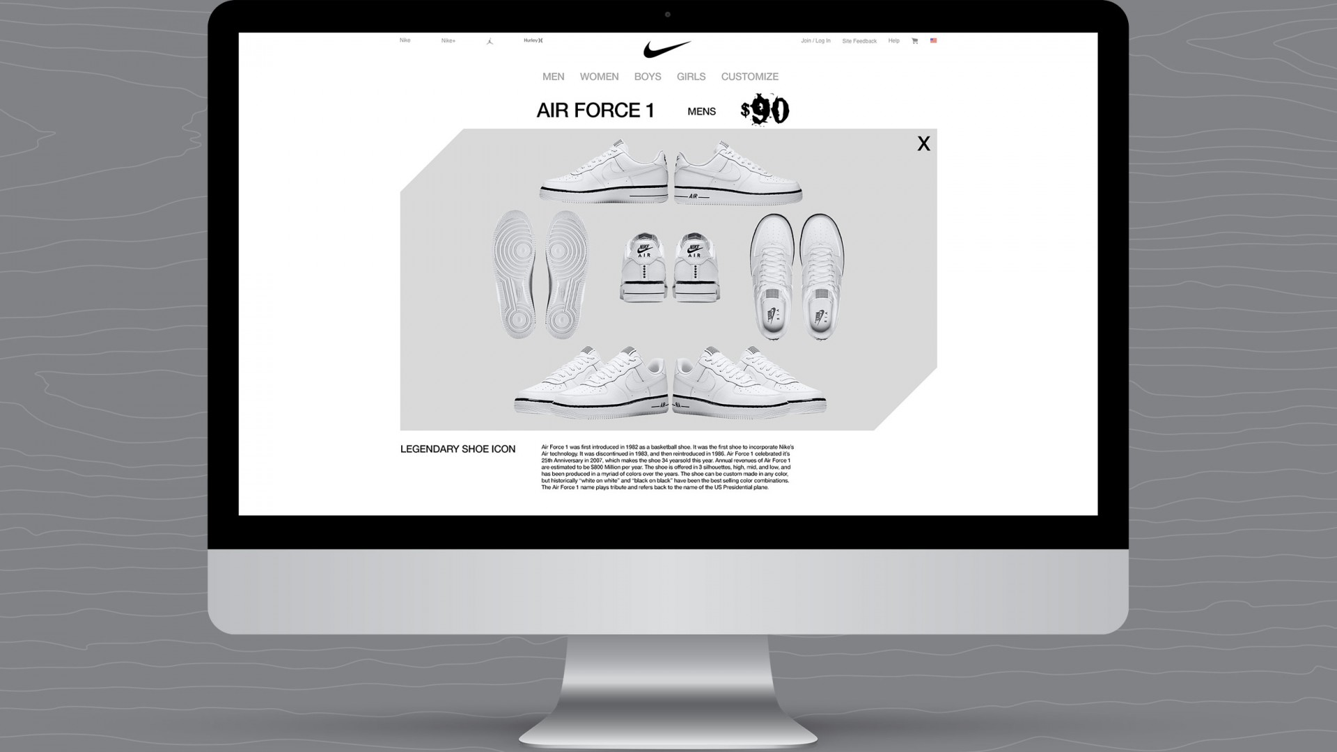 Journey With A Legend, Nike UX/UI, desktop shoe color view.