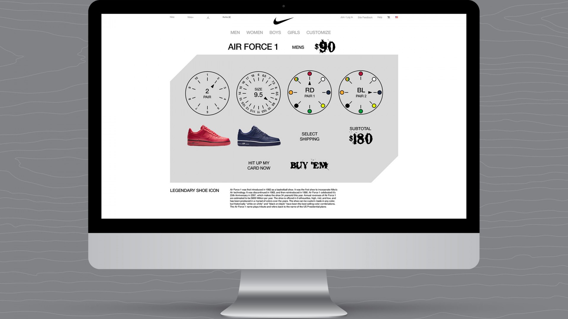 Journey With A Legend, Nike UX/UI, desktop shopping selections views.
