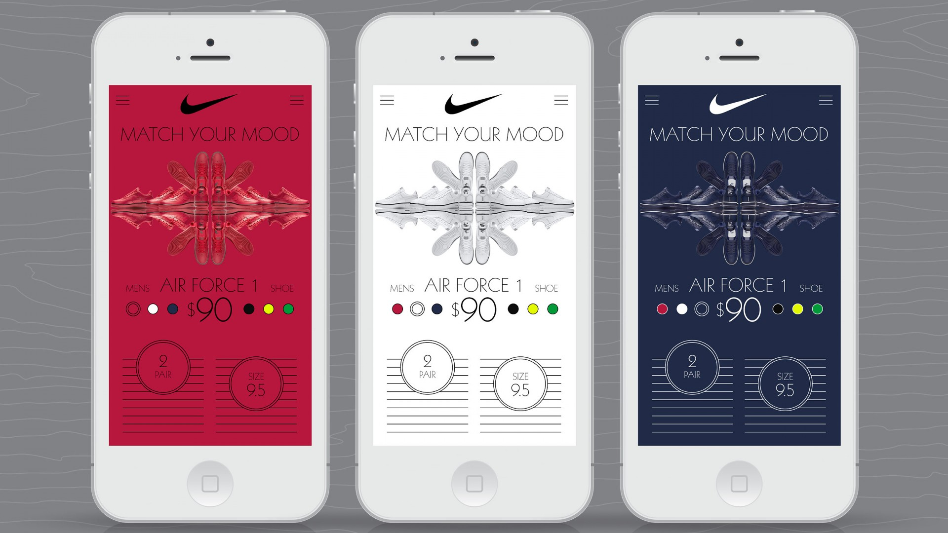 Match Your Mood, Nike UX/UI, mobile phone views.