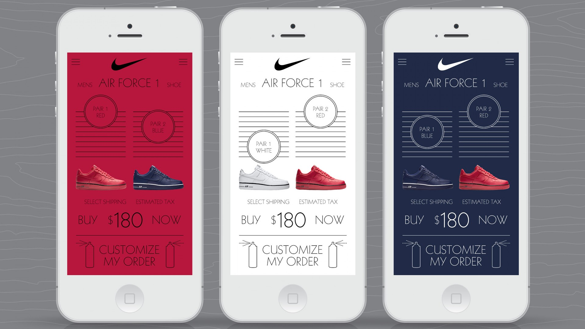 Match Your Mood, Nike UX/UI, mobile phone shopping selections views.