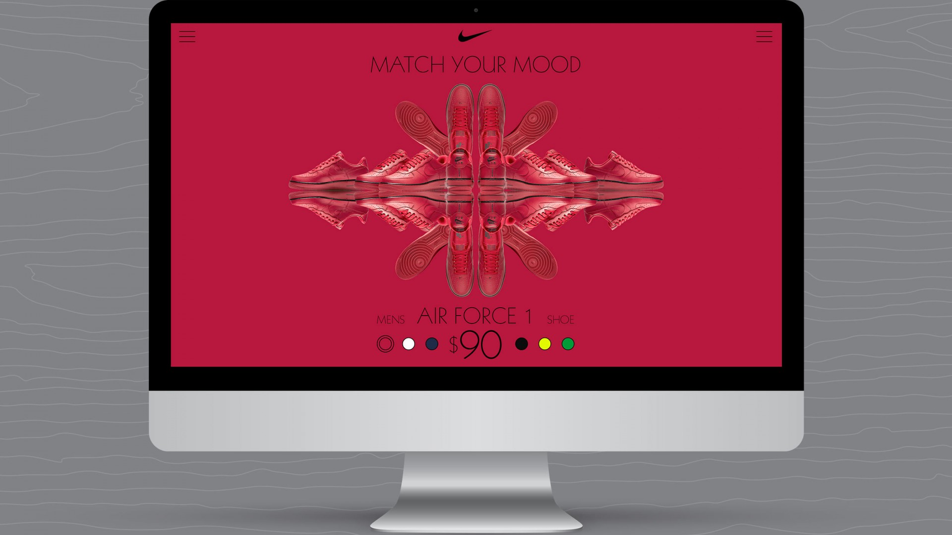 Match Your Mood, Nike UX/UI, desktop view red shoe view.