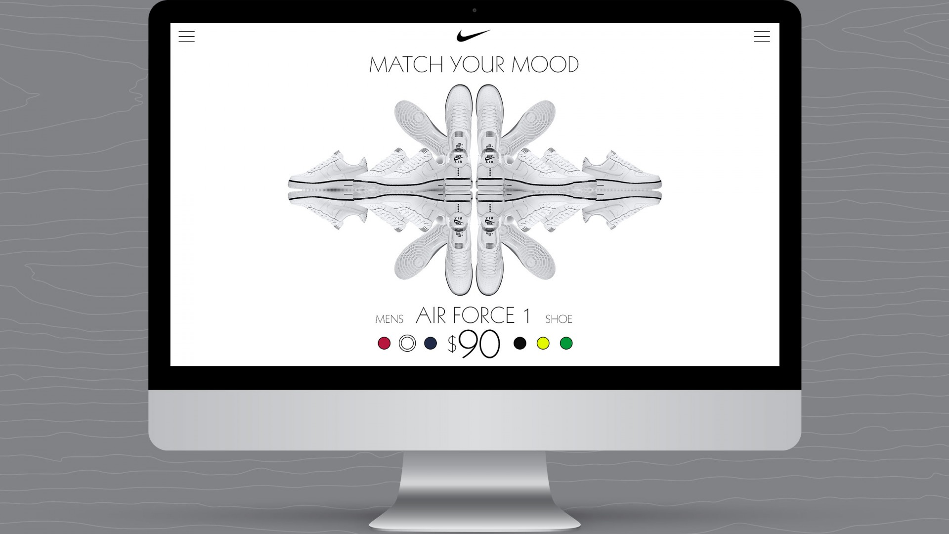 Match Your Mood, Nike UX/UI, desktop view white shoe view.