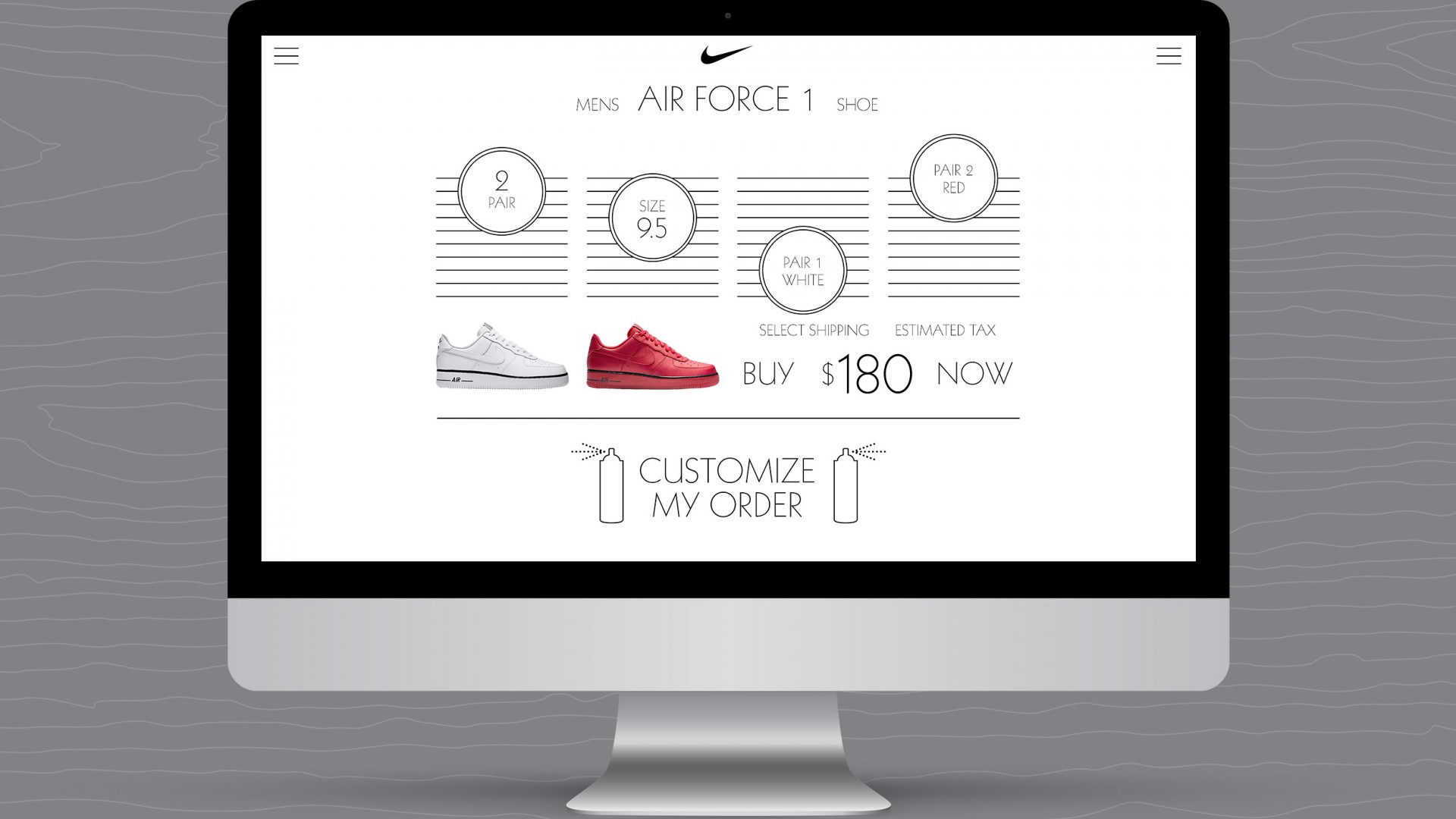 Match Your Mood, Nike UX/UI, desktop view white shoe shopping selections view.