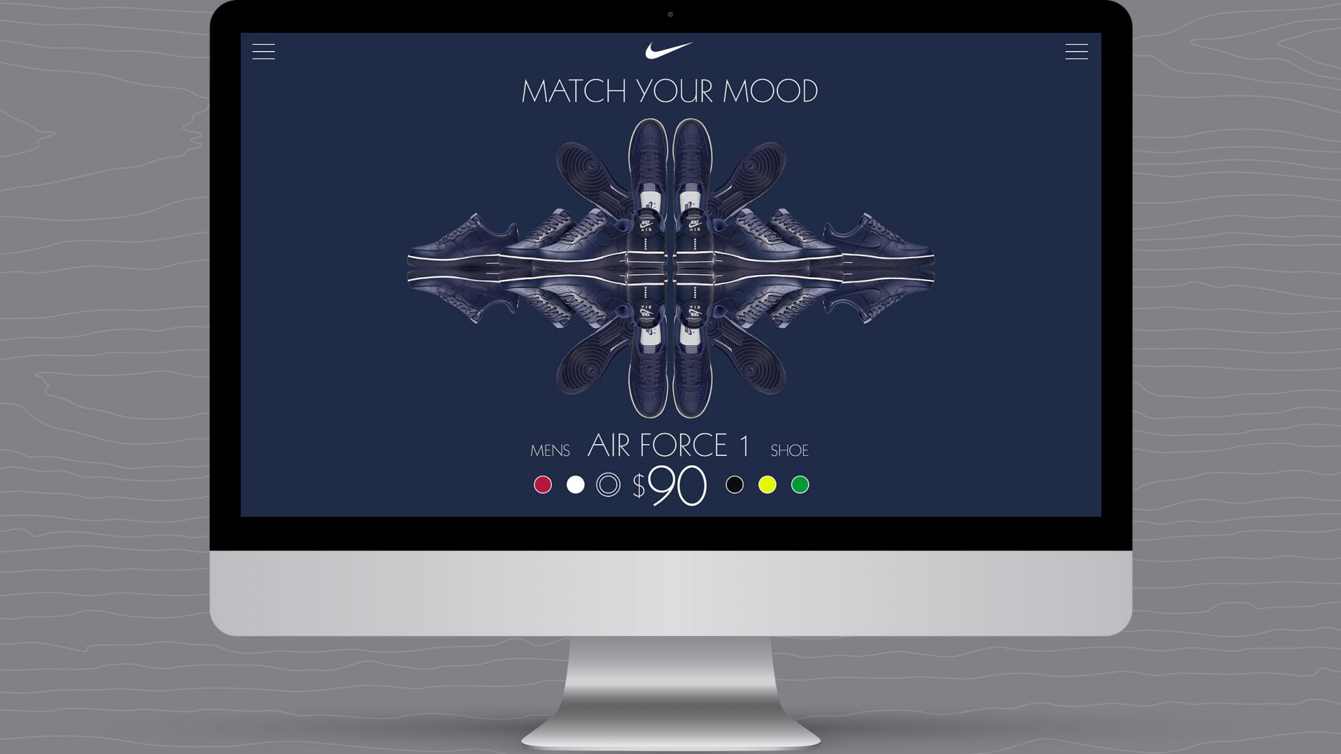 Match Your Mood, Nike UX/UI, desktop view blue shoe view.