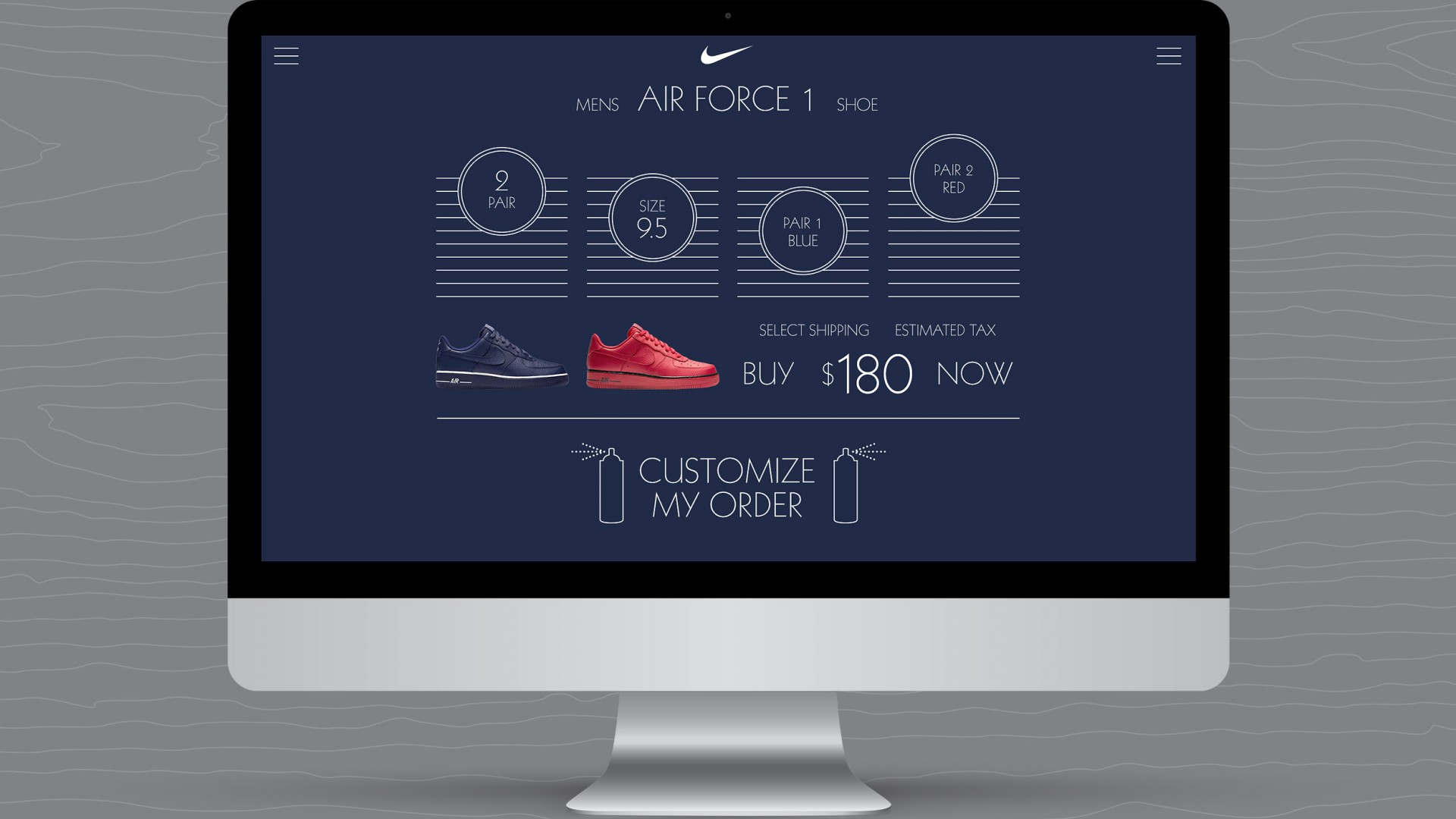 Match Your Mood, Nike UX/UI, desktop view blue shoe shopping selections view.
