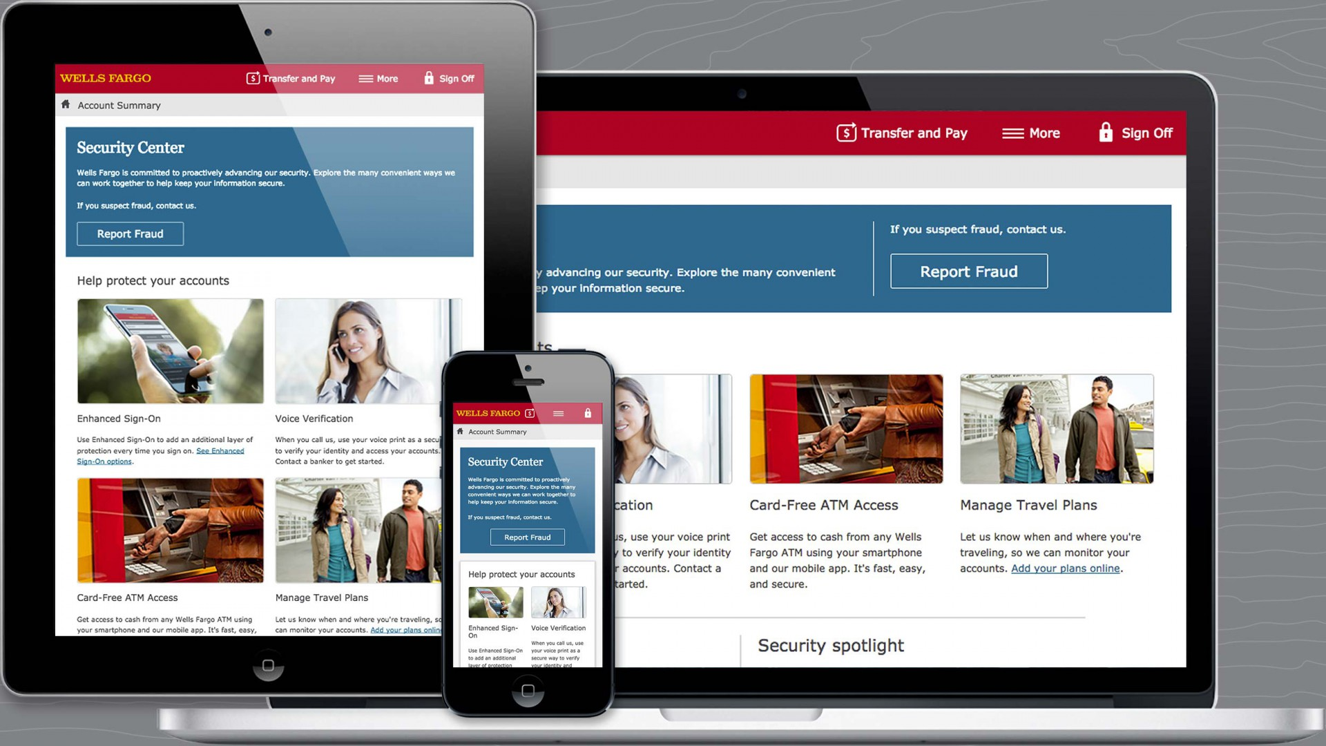 Wells Fargo responsive Security Center on multiple devices.