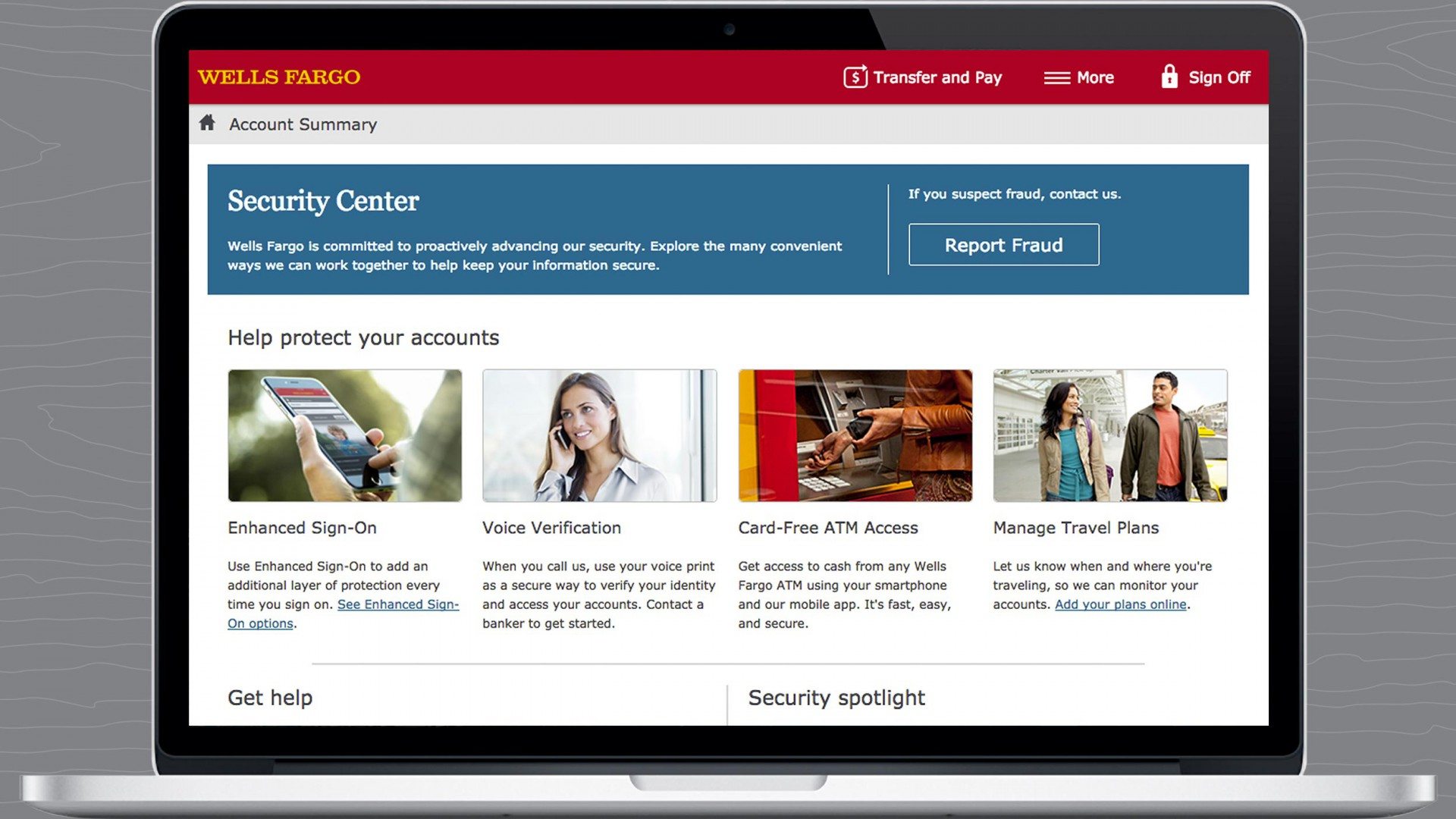 Wells Fargo Security Center on a laptop.